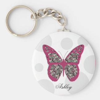Zebra Print Butterfly Key Chain