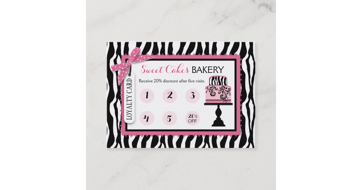 Zebra Print Cake Bakery Business Loyalty Card | Zazzle.com