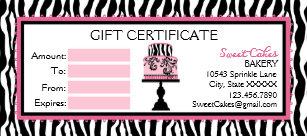 bakery gift certificates zazzle