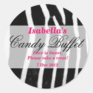 Zebra print Candy Buffet Sticker