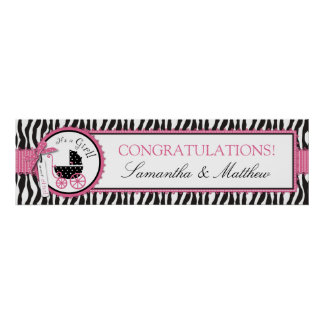 Zebra Print & Carriage Baby Shower Banner Girl