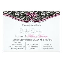 Zebra Print Chic Bridal shower Card