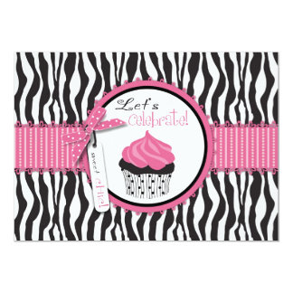 Zebra Print & Cupcake Birthday Card