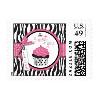 Zebra Print & Cupcake Thank You Postage