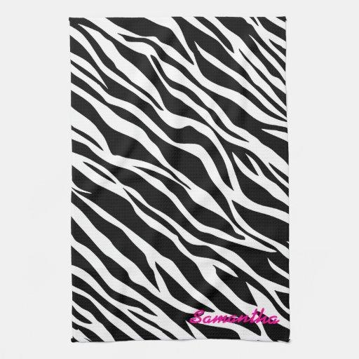 Zebra print custom kitchen dish towel zazzle for Zebra kitchen set