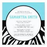 Zebra Print Custom Photo Birthday Party Blue Invitation
