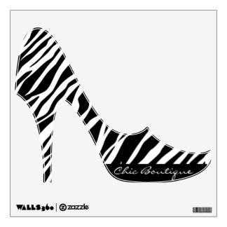 Zebra Print Custom Text Stiletto Heels Wall Cling Room Graphics