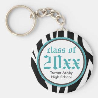Zebra Print Customized Graduation Keychain aqua