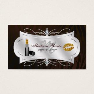 Zebra Print Dark Chocolate Glitter Cosmetologist Business Card