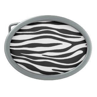 Zebra Print Design Oval Belt Buckle