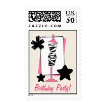 Zebra Print Dress Form Birthday Party Postage