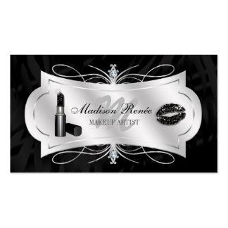 Zebra Print Ebony Glitter Cosmetology Double-Sided Standard Business Cards (Pack Of 100)