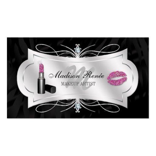 Zebra Print Ebony Glitter Cosmetology Business Card