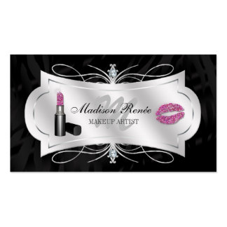 Zebra Print Ebony Glitter Cosmetology Business Cards