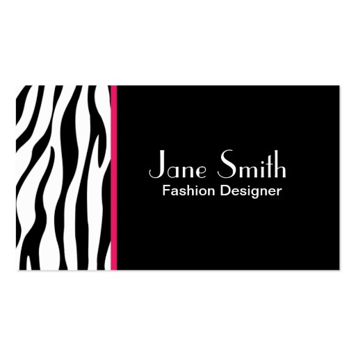 Zebra Print Fashion Designer Hair Stylist Salon Double Sided Standard Business Cards Pack Of