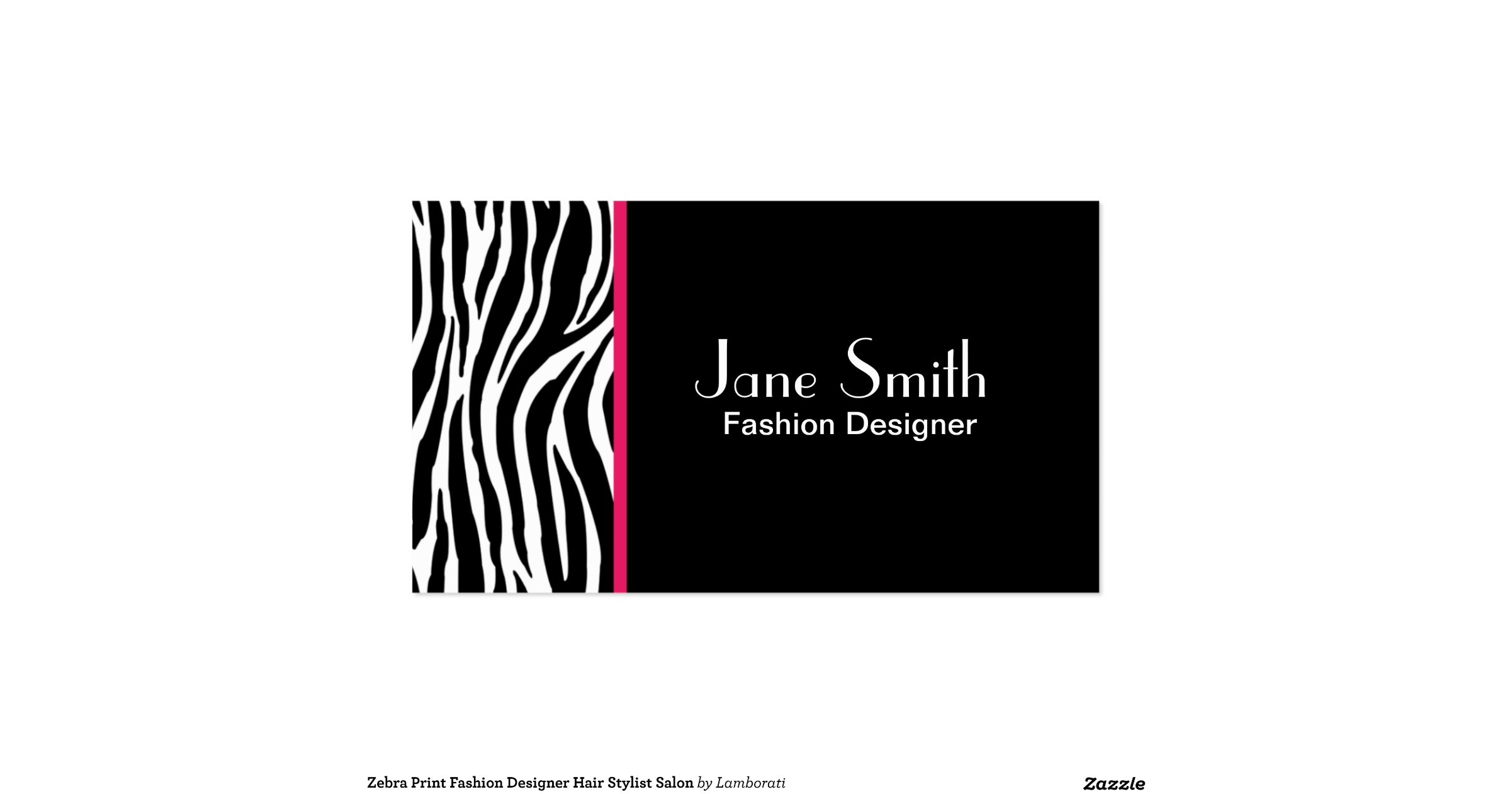 Zebra Print Fashion Designer Hair Stylist Salon Double Sided Standard Business Cards Pack Of 100
