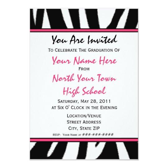 Zebra Print Fashion Graduation Invitation 2011