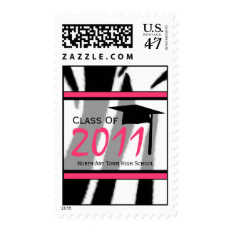 Zebra Print Fashion Graduation Postage Stamp 2011
