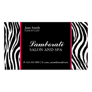 Zebra Print Fashion Hair Stylist Salon Pink Business Card Template