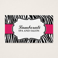 Zebra Print Fashion Hot Pink Elegant Modern Classy Business Card at Zazzle