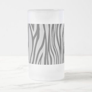 zebra print frosted glass beer mug