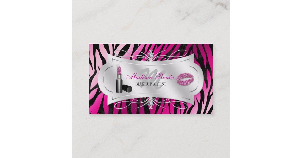 Zebra Print Fuchsia Black Glitter Cosmetology Business Card | Zazzle.com