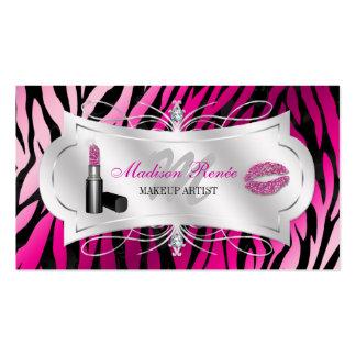 Zebra Print Fuchsia Black Glitter Cosmetology Business Card Template