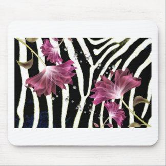 Zebra Print / Fuchsia  Lotus Flower Design Mouse Pad