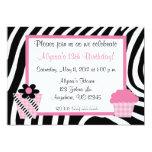 Zebra Print Girls Birthday Inviation 5x7 Paper Invitation Card