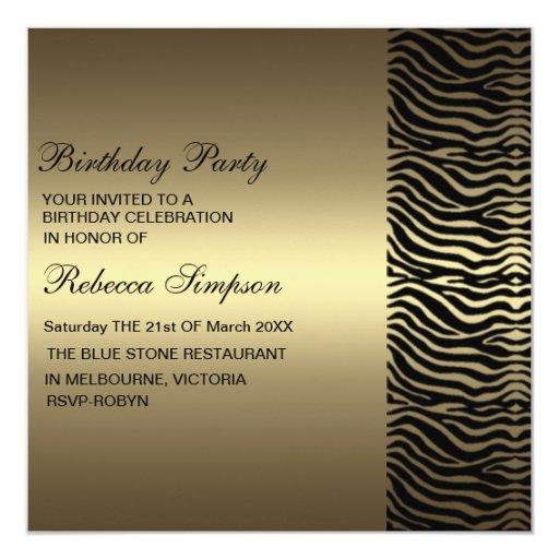 Zebra Print Gold & Black Birthday Invitation