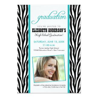 Zebra Print Graduation Announcement (aqua)
