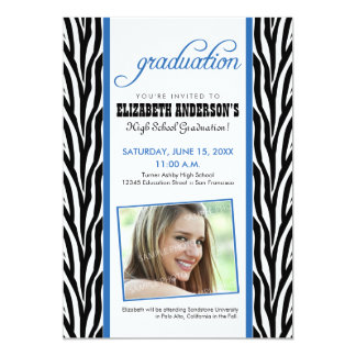 Zebra Print Graduation Announcement (blue)