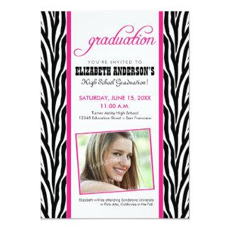 Zebra Print Graduation Announcement (fuchsia)