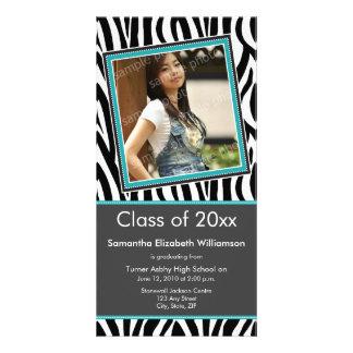 Zebra Print Graduation Photo Announcement (aqua) Photo Card