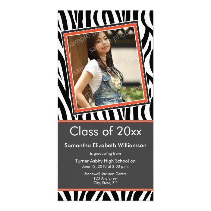 Zebra Print Graduation Photo Announcement (orange)