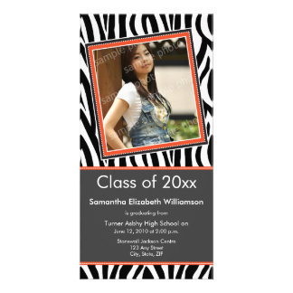 Zebra Print Graduation Photo Announcement (orange) Photo Card