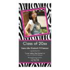 Zebra Print Graduation Photo Announcement (pink)