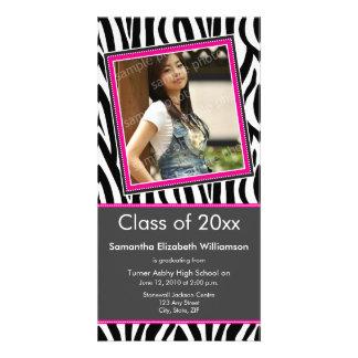 Zebra Print Graduation Photo Announcement (pink) Photo Card