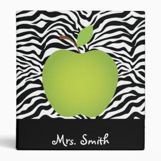 Zebra Print Green Apple Teacher's Personalized Binder