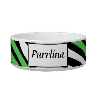 Zebra Print Green Mix Personalized Cat Bowl