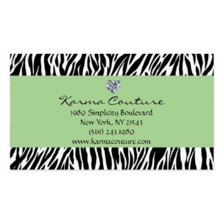 zebra print green w/ heart shaped diamond Double-Sided standard business cards (Pack of 100)