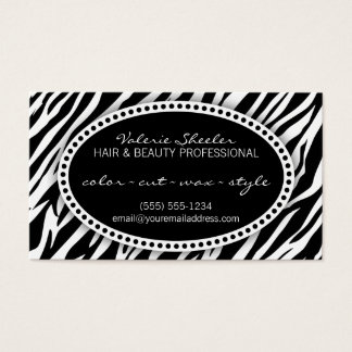 Zebra Print Hair & Beauty Appointment Card
