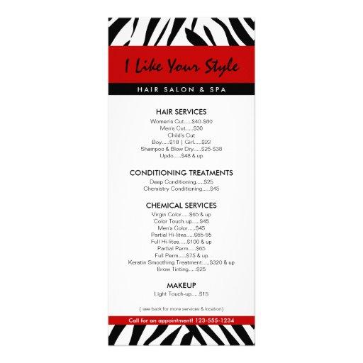 Zebra Print, Hair Salon Price List Personalized Rack Card