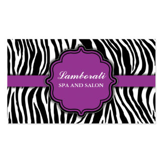 Zebra Print Hair Stylist Hairdresser Salon Purple Double-Sided Standard Business Cards (Pack Of 100)