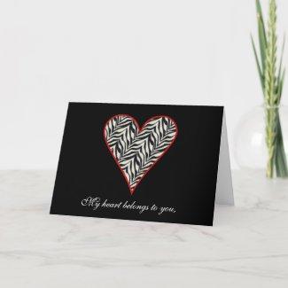 Zebra Print Heart Card card