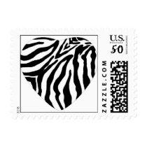 Zebra Print Heart Postage Stamp