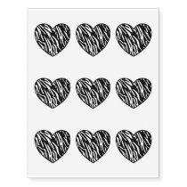 Zebra Print Heart Temporary Tattoos