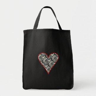 Zebra Print Heart Tote Bag bag