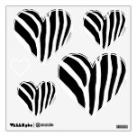 Zebra Print Hearts Wall Decals and Stickers