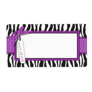 Zebra Print & Hot Pink Accent Name Tag Label